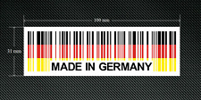 2 x MADE IN GERMANY BAR CODE Stickers/Decals with a White Background - EURO  DUB