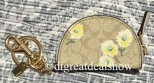 NEW Coach Crescent Pouch Bag Charm In Signature Canvas With Daisy Print C3127