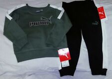 NWT PUMA Toddler Boy Sweat Suit Athletic Warm Up 2 PC Outfit Set Green Black 2T