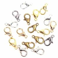 100Pcs Silver/Gold Plated Lobster Claw Clasp Trigger Hooks Jewelry Findings 10mm