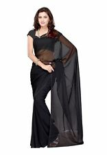 Bridal Black Saree Party Wear Indian Chiffon Plain Ethnic Wedding Women's Sari