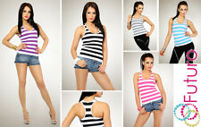 Womens Top Slimming Shaping Striped T-shirt Summer Casual Wear Size 8-14 FG2438