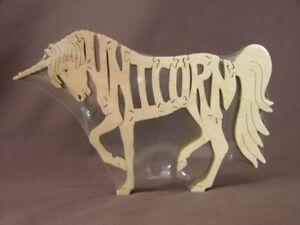 Unicorn Horse Wood Puzzle Amish Made Scroll Saw Toy New Figurine USA