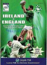 IRELAND v ENGLAND 2001 RUGBY PROGRAMME