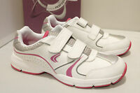 Clarks Girls Shoes FLUENCY JET JNR White Leather Sport Trainers Various Sizes