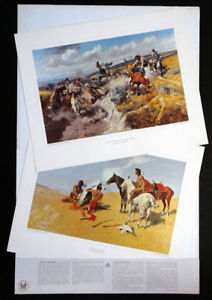 Vintage FREDERIC REMINGTON Charles Russell LITHOGRAPH Print / PETERSON GALLERIES