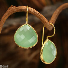 Green Quartz Earrings, 25.5 CTTW Set in 18K Yellow Gold Over Sterling Silver