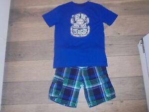 Gymboree Deep Sea Adventure plaid shorts with matching shirt outfit set boys 7