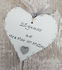 25th silver Wedding Anniversary gift- Personalised handmade wooden heart