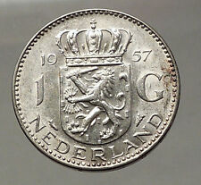 1957 Netherlands Kingdom Queen JULIANA 1 Gulden Authentic Silver Coin i57765