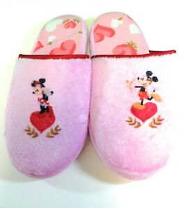 Womens Mickey & Minnie Mouse Disney Store Pink Heart House Slippers Shoes
