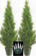 2 CEDAR 3' OUTDOOR TOPIARY TREE UV PINE ARTIFICIAL 5 4 CYPRESS CHRISTMAS LIGHTS