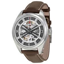 Hamilton Khaki Skeleton Dial Automatic Brown Leather Mens Watch H72515585