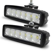 2x 6inch 18W Flood LED Work Light Car Truck Boat Driving Fog Offroad SUV 4WD Bar
