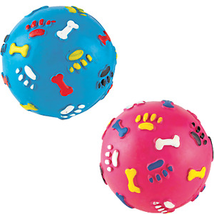 Dog Puppy Rubber Ball With Giggle Solid Tough Hard Strong Heavy Duty FetchBright