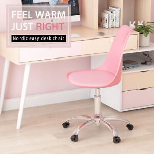 Cushioned Swivel Office Chair Computer Desk Chair Chrome Legs Lift Adjustable UK