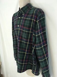Lands End Mens L Black Watch Plaid Cotton Flannel Shirt