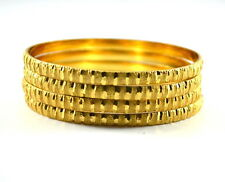 Set of 4 Gold plated solid brass bangles SIZE 2/12