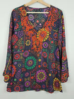 ISHKA   Womens embroidered Print Blouse Kaftan Top  [ Size S or AU 10 / US 6 ]