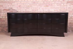 Edmond Spence Style Black Lacquered Wave Front Dresser or Credenza