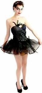 Juniors Black Swan Ballet Leotard and Tutu Ballerina Short Length Costume Dress