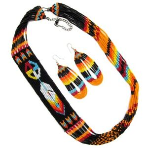 HANDCRAFTED NATIVE STYLE FEATHER MULTI-COLOR  BEADED NECKLACE EARRINGS  S53/7