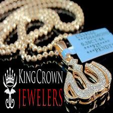 "Real Genuine Diamond 10K Rose Gold Finish Mini Allah Pendant Charm 1.15"" + Chain"