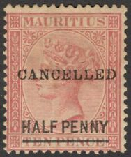 Mauritius QV Queen Victoria 1877 1/2d on 10d rose SG 79 overprinted CANCELLED