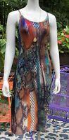 Vintage Snake Skin Print Python Dress Sz Med Y2k Club Medusa Grunge