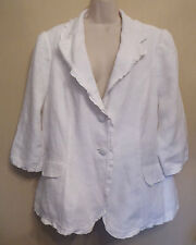 Per Una UK20 EU48 US16 new white linen lined jacket with below elbow sleeves
