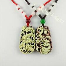 Natural Jade dragon phoenix Couple Pendant Necklace Fashion Charm Jewelry Amulet