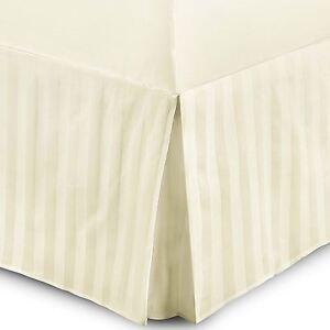 Luxury 100% Egyptian Cotton Stripe Satin 16in 40cm Box Pleated Base Valance