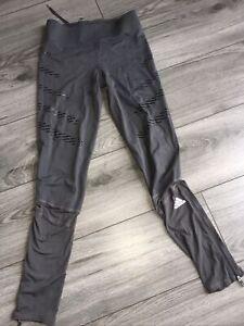 Adidas Leggings Adizero Running Climate XS Grey Used Yoga Gym Active
