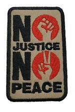 Black Lives Matter No Justice No Peace Embroidered Iron On Patch Hook & Loop
