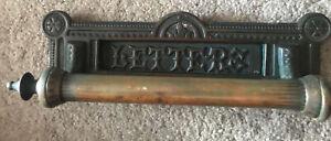 Antique Letters Door Pull Cast Copper Victorian Letter Box Art Nouveau