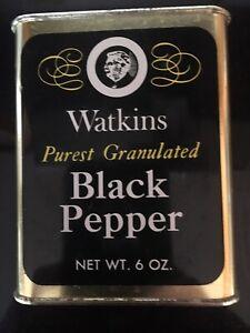 Vintage Watkins Purest Granulated Black Pepper Tin 6oz ADVERTISING KITCHEN HOME