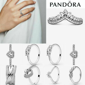 ALE S925 Genuine Silver Pandora Sparkling Stackable Ring & With Free Pouch