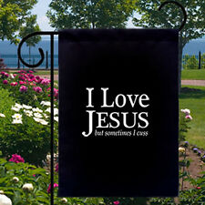 I Love Jesus But Sometimes I Cuss New Small Garden Yard Flag Gifts Funny