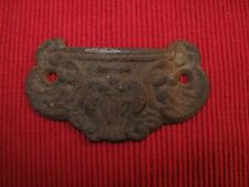 ANTIQUE CAST IRON VICTORIAN ORNATE DRAWER PULL HANDLE EASTLAKE LYRE 1880'S A5