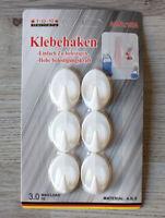 6 selbstklebende Haken Kunststoff oval Wandhaken Handtuchhalter Türhaken weiß