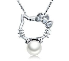 Hello Kitty Necklace+Freshwater Pearl 925 Sterling Silver Pendant Chain Necklace