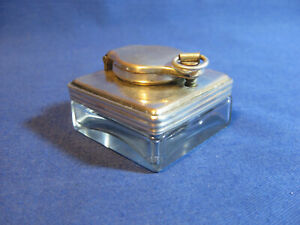 Antique 1850s Victorian Silver Plated Travelling Topped square Glass Inkwell