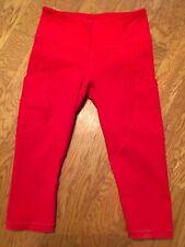 Euc Lululemon Red crop capri leggings w/ pockets sz 6