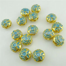 18282 2x Alloy Gold Cloisonne Lotus Enamel Flower 8 Holes 12mm Spacer Bead Craft