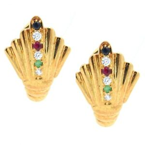 Vintage 14K Yellow Gold Earrings Leverbacks Crystal Studded Stones
