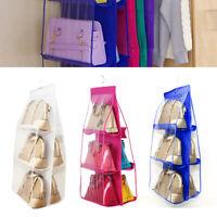 6 Pockets Clear Hanger Handbag Tote Bag Storage Shoes Organizer Closet Rack Bag
