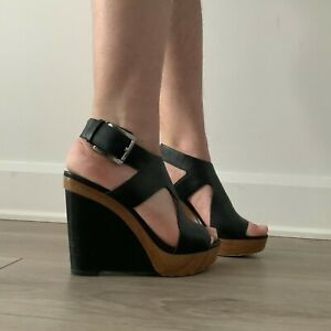 Michael Kors Josephine black leather wood wedges silver buckle size 5