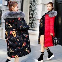 Women Reversible Winter long Cotton Padded Coat Parka Down Jacket Fur Collar