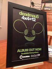 """FRAMED ORIGINAL & RARE DEADMAU5 """"4X4=12"""" LP ALBUM CD PROMO AD"""