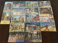 Lot of 16 ~Outhouse toilet Comic Humor ~ Vintage Linen Funny Postcards-b219